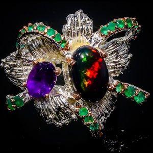 Glamorous Ethiopian Black Opal Ring